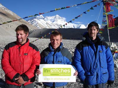 Neill Elliott from Enniskillen displays the In-Stitches Banner at the Everest Base Camp