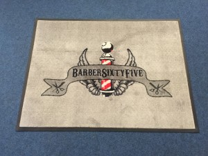 Custom printed carpet mat for Barber Sixtyfive in Yeovil, Somerset