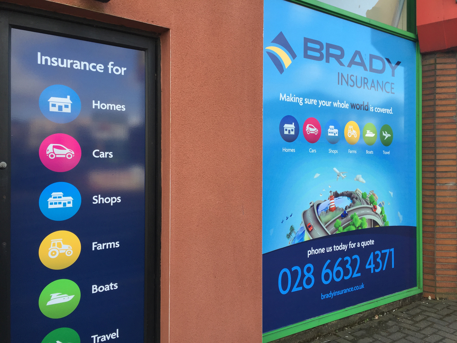 New Signage And Window Graphics For Brady Insurance Le