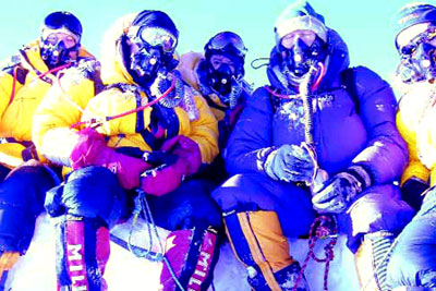 The local climbers on top of the world - Everst Summit
