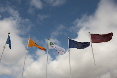 The finished flags outside Killyhevlin Hotel