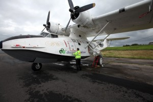 L.E. Graphics putting the finishing touches to the graphics on a PBY Catalina Flying Boat