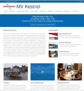 screen shot of ernetours new website