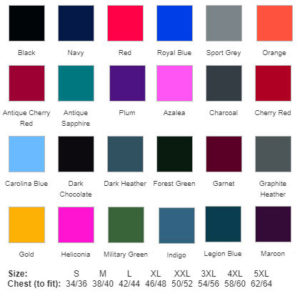 Colour Chart for GD57 Hoodie