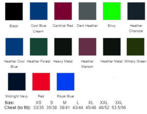 Sueded T Shirt Colour Chart