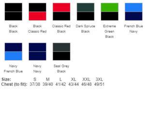 FMCC Soft Shell Jacket Colour Chart