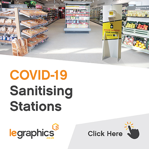 Image of LE Graphics Covid-19 Sanitiser Station